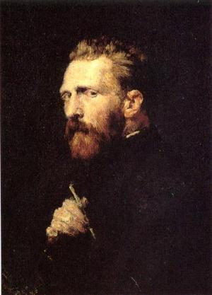 Vincent van Gogh portrait painted by John Peter Russell in 1886.  Currently maintained at the van Gogh Museum in Amsterdam.  Online courtesy Wikimedia Commons.